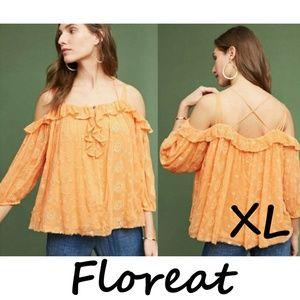 Anthro Floreat Orange Maryana Open Shoulder Blouse